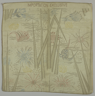 "Underwater plants.  Woven at top ""Importation Exclusive."""