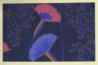 Stylized fan-shaped flowers in blue and red with sprays of orange buds on a dark blue ground.