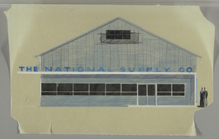 Elevation of an entrance to THE NATIONAL SUPPLY CO. in blue; two figures on right to show scale.