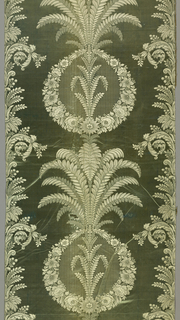 Circles of flowers, ferns and acanthus leaves in white and faded aqua.