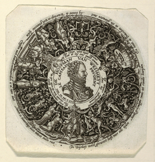 Nagler, Mon. II. 1916. 9) 4. In the center a medallion portrait of William the Taciturn of Orange, as the wise captain. In the outer circle: the Judgement of Solomon; Venus; a man at table, praying, flanked by Death and the Devil; the judgement over Susanna and three elders. Inscriptions in French and Low German.