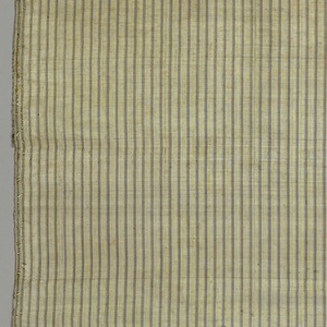 Striped taffeta from a chasuble lining. White ground with fine stripes of brownish lavender and faded rose with a brownish stripe.