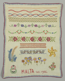 Bands of pattern with detached motifs at bottom part.  Signed: Malta, G.C., 1956.