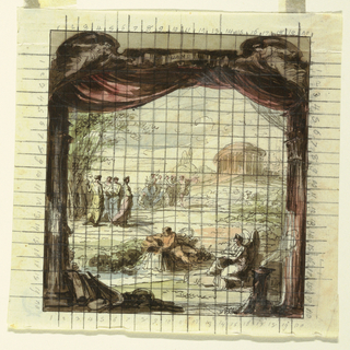 Vertical rectangle: Arcadian landscape. Foreground, personification of river source and person with wings writing. In the middle, Apollo and muses; in the back, temple. In foreground stage framing, lyre and altar. Squared for copying.