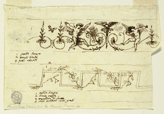 """Horizontal rectangle. Right edge above: windged putto sit upon scrolls symmetrically arranged on stem with blossom, and swan in the internval. From spirals rises stem with leaves. Above interval, bird. Figures 1 to 3, below, at left: """"1 fondo bocaro/ 2 ornati bianchi/ 3 putti coloriti."""" Below: a rectularly broken band entwined with waved flower-stem. Figures 1 to 3: """"1 fondo bianco/ 2 linea verde/ [framing lines above and below] 3 meandro di Sacca/ 4 fiori tiuchini semi gialli."""" Verso: section of room with vaulted ceiling decorated like tent. Below: tablet with inscription:  """"Enea oserva li fatti di troia/ con Acatte nel tempio."""" (Aeneid, Book I, ll 446-519)"""