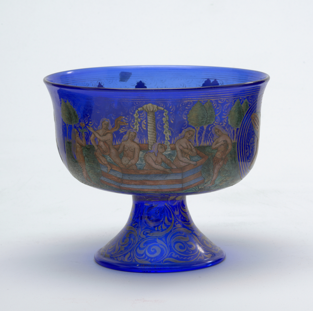 Footed bowl in blue glass with painted decoration showing women on horseback, bathers and two portrait medallions. In the Renaissance revival style.
