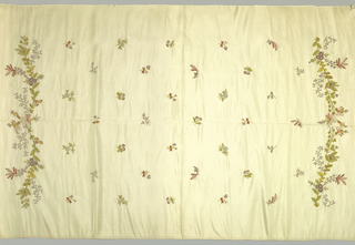 Cream silk plain cloth ground with polychrome silk embroidery in chain stitch. Ground powdered with flower springs. -a: has garland of flowers at either side. See n-t-624, but it does not appear to be chain stitch.