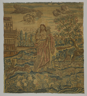 Needlepoint picture showing Christ as the Good Shepherd surrounded by his flock in a landscape. Flowers and a dog, chained to a tree fill the foreground. In the middle ground, a fruit tree in the right and a building on the left in front of a formal garden in the background. Birds and clouds in the sky.