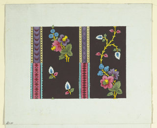 Two panels of multicolored flowers on yellow stems on dark brown ground separated by patterned stripes of purple and pink, bordered with yellow and turquoise.
