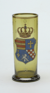 greeb glass; has a royal crest on it.;
