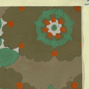 Pattern of arabesque-petalled blossoms in moss and whitish-blue with orange-red dots and light turquoise circles, with leaves and stems in light turquoise in the interstices on a gray background.