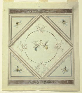 "Vertical rectangle. Above and below bands with ornament in middle.  Remainder divided into lozenge, four triangles. Inside trophies of objects. In center of lozenges two flying female genii, seen in profile, raising their outside arms with wreath, supporting their inside hands caduceus. They are framed by circle formed by garlands connected by bowknots. In lower corner of lozenges, pencil sketch for band cresting border. Center right edge, inscription by Giani horizontally: ""camera da letto."""