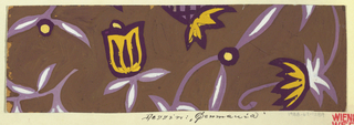 On brown ground, partial view of pattern design with stylized floral design with yellow blossoms on purple stems with white leaves.