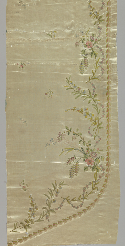 Part of the front panel from a dress. White satin embroidered with tambour work in multicolored pastel silks and chartreuse green chenille. Design of sprays of roses, violets and other flowers entwined with garlands of tiny roses. Field has tiny flower sprigs.