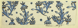 On white ground, stylized branching blue flower forms outlined in black, with petals and leaves highlighted in contrasting white.