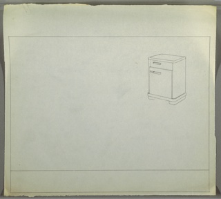 Perspective drawing of night table. Rectangular body with rounded edges, one drawer above, one cabinet below. Table on two long bun feet.