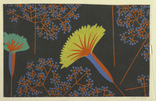 Stylized fan-shaped flowers in yellow, blue, and red with sprays of blue and red buds on a black ground.
