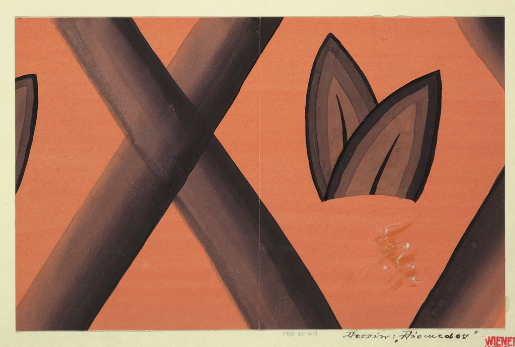 Design features a crisscross in brown, with two brown leaves on the right, on orange ground. Though the forms on the far right and left sides are cropped, the repetition of the design beyond the borders of the composition is implied.