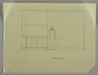 Elevation of an interior space with cabinetry below on left; figure included for scale.