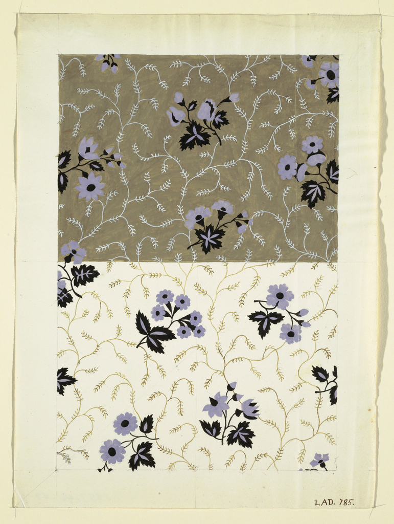 Floral design, purple and black, upper portion, tan ground with white vines, lower portion, white ground with tan vines.