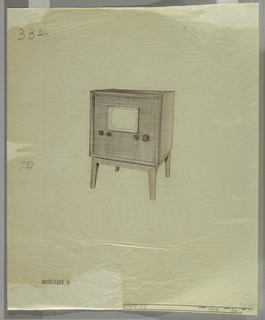 Television set with straight legs; horizontal panels with four dials; small screen.