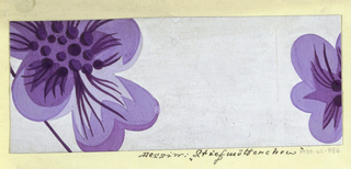 Floral pattern in purple and white.