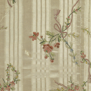 Panel made of fifteen fragments of embroidery, floral pattern in colored silks and chenille (chain stitch) on ribbed silk with satin stripes (fancy compound satin). Selvage of three narrow green stripes.