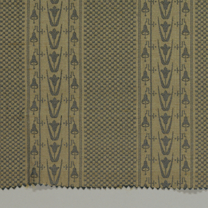 Reproduction textile in design inspired by a textile in the Cooper Union Museum collection. Pattern has broad vertical stripes of a fine checkerboard pattern alternating with stripes of flowers and bells.