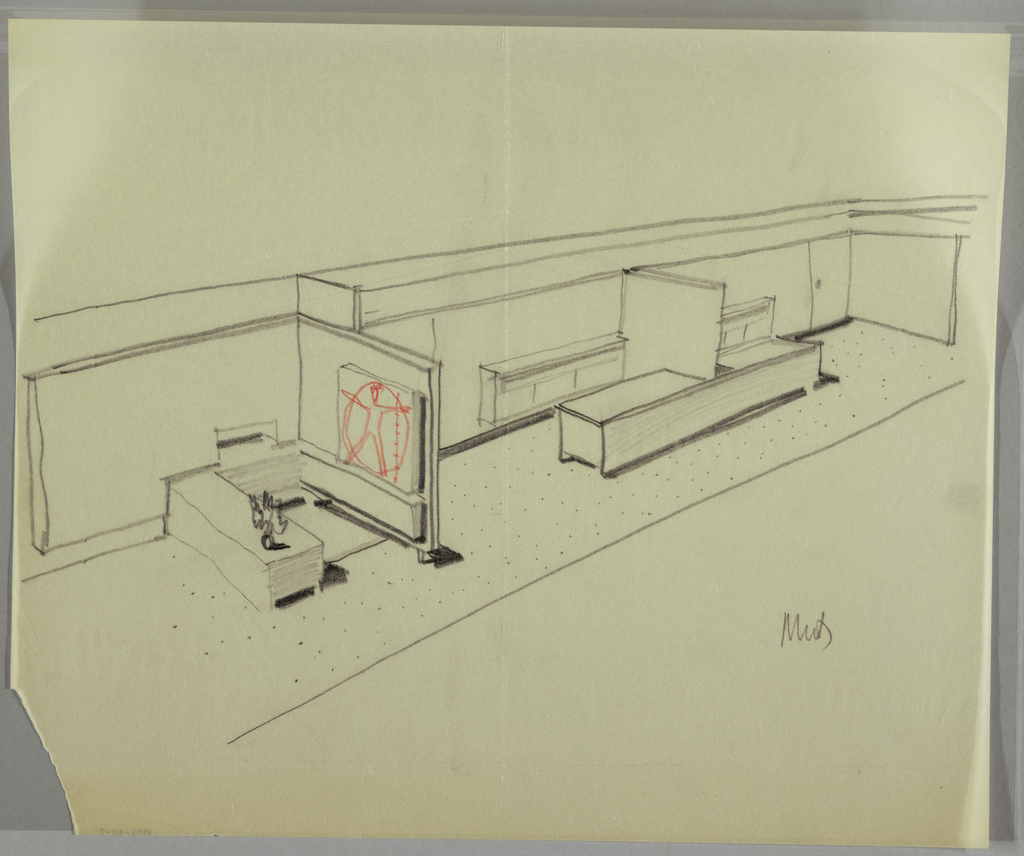 Office interior with three areas/desks/cubicles; one wall has the Vitruvian man in red.