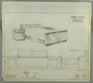 Drawing, Design for Bed and Night Tables, Emil Schwarzhaupt Apartment at The Pierre, 2 E 61st Street, New York, NY, 1934–1935