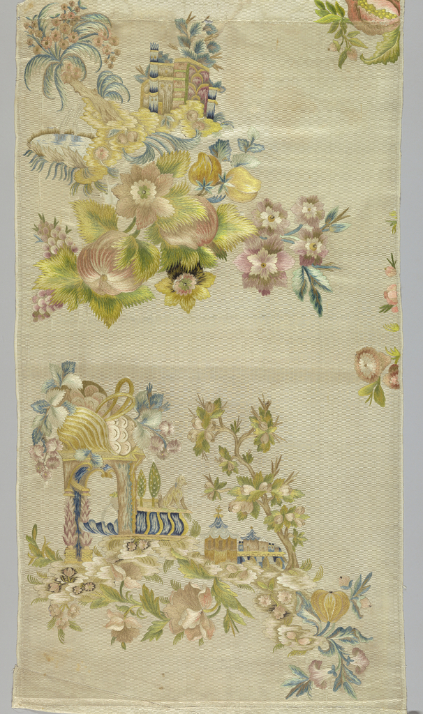 Panel of white silk, embroidered in silks in shades of rose, green, yellow, violet, blue, tan. Design, only part of which is present, shows an arch, crowned with flowers, fruit. to right a dog; below, right, buildings, branch of flowers. Rocky knoll with spring.