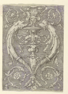 Print, Grotesque Panel with Dolphins