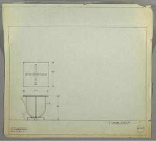 Plan and elevation drawing for small square table. Top of table in Bakelite, U-shaped pedestal base in tubular metal (?), and ebonized base.