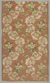 """Twined ribbons supporting bunches of flowers on a ribbed """"flushing"""" warp background."""