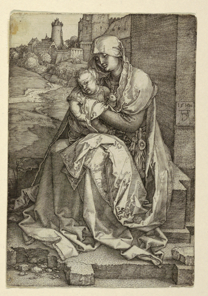 Print, The Virgin Sitting by a Wall