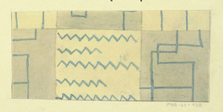 Line motif with zigzags in gray, pale yellow, and blue.