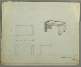 Perspective, plan and elevation drawing for low coffee table. Rectangular top of table with rounded corners and legs. Sunken surface of table probably glass, with wooden or metal border. Frame of table probably wood; two wooden panels on left and right side.
