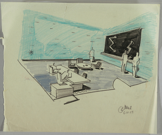 Office interior with figures standing along walls; and figures sitting at desk at left; map on wall; waiting area at center of floor.