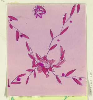 Leafy floral pattern in magenta and light pink.