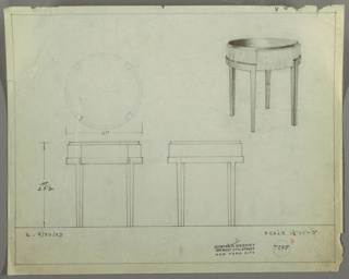 Perspective, plan, and elevation drawings for small round side/end table. Top of table probably in Bakelite or darker wood. Base in wood, four rectinilear legs in darker wood. Small drawer on base.