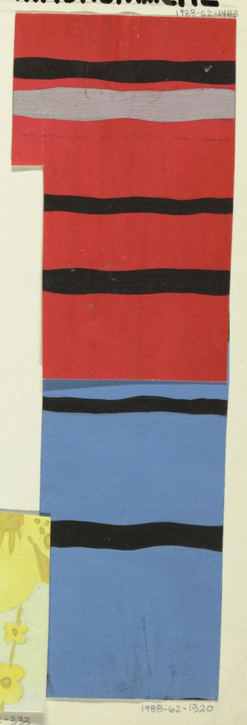 Partial view of pattern design with red background at top and blue at bottom, each decorated with horizontal lines in black; a light gray line at the top of the design on red ground.