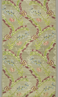 Scrolls of flowers in an allover design of carnations and hyacinths in rose, blue and green on an off-white ground.