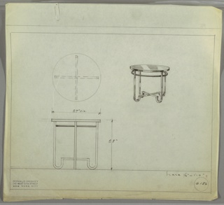 Perspective, plan, and elevation drawing for round table. Circular surface in reflective material, Bakelite (?); four squared, tubular legs with rounded ends and cross-stretcher; tubular strip encircling interior of legs.