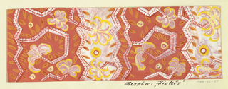 Alternating burnt orange and light pink ground with stylized floral/vegetal pattern of feathery pink and yellow flowers, orange and red leaves, and alternating white and red zigzags that vertically divide the pattern field