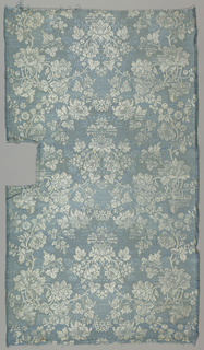 Light blue silk with white wefts bound in twill weave showing a symmetrical floral pattern.