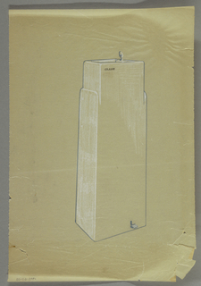 Design for a water fountain with white side; at oblique view. Foot pedal and spout; at upper left of fountain: CRANE.