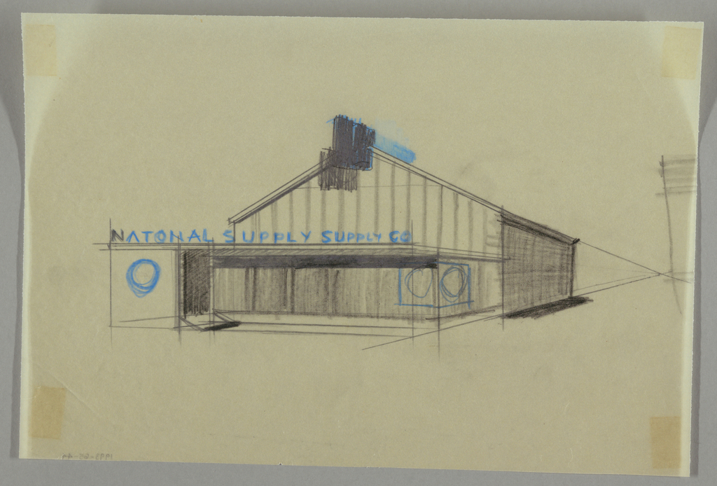 Exterior view of a pitched roofed building with vertical panels; NATIONAL SUPPLY SUPPLY CO in blue letters.