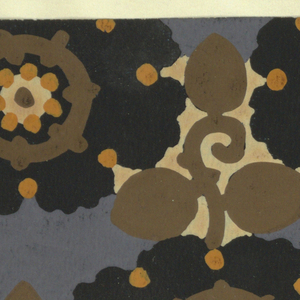 Pattern of arabesque-petalled blossoms in black and light salmon with yellow dots and brown circles, with leaves and stems in brown in the interstices on a blue background.