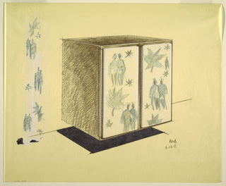 Design for two-door floating cabinet decorated with coupled figures and stars on white ground; some sketches to left of these figures.