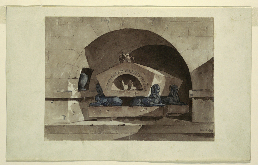 Architectural fantasy.  Pentagonal sarcophagus, supported on the backs of sculpted sphinxes, is housed in a rounded arch niche.  A small niche in the left of the arch contains an urn.  Two unshod feet appear in an arched opening of the sarcophagus, which is ornamented with hieroglyphs and a carved owl perched on top.